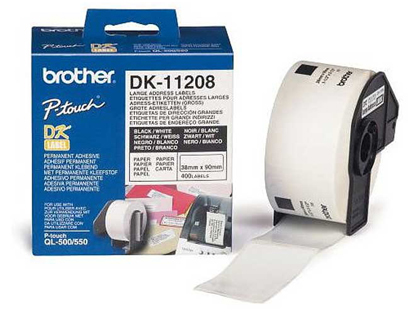 Etiquetas ETIQUETA ADHESIVA BROTHER DK11208 -TAMAÑO 38X90 MM PARA IMPRESORAS DE ETIQUETAS QL -400 ETIQUETAS-