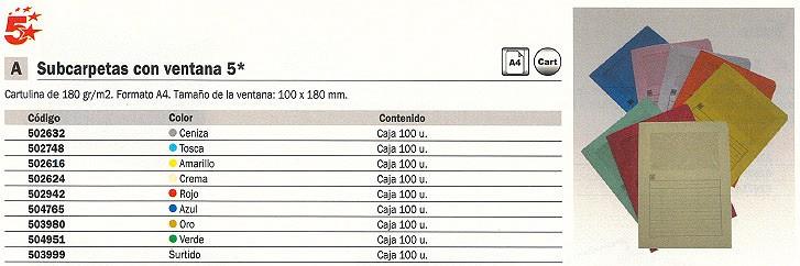 5 STAR SUBCARPETAS CAJA 100 UD A4 CARTULINA CON VENTANA AZUL 50399