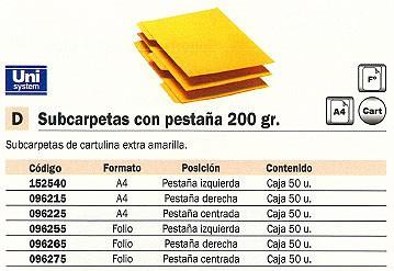 Comprar Subcarpetas cartulina 096265 de Unisystem online.