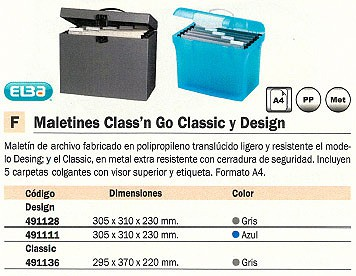 ELBA MALETIN ARCHIVADOR CASS´N GO DESIGN 305X310X230MM AZUL LIGERO Y RESISTENTE 100330256