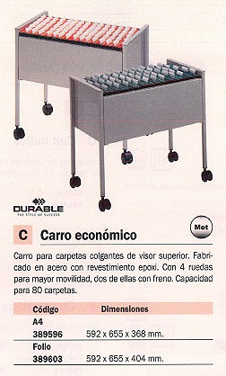 DURABLE CARRO CARPETAS COLGANTES 592X655X404 ACERO PARA 80 CARPETAS VISOR SUPERIOR 4 RUEDAS 3096-10