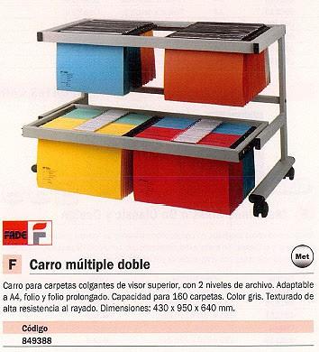 FADE CARRO PARA CARPETAS COLGANTES MÚLTIPLE DOBLE 430X950X640 MM 2 NIVELES ARCHIVO 100333275