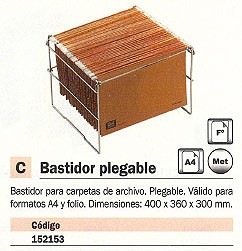 MACAMSA BASTIDOR CARPETAS COLGANTES A4 Y FOLIO 400X360X300 MM PLEGABLE 21501