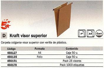 5 STAR CARPETA COLGANTE CAJA 50 UD FOLIO PAPEL KRAFT VISOR SUPERIOR 400021840