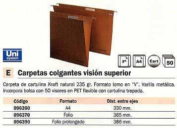 Comprar Carpetas colgantes visor superior 096370 de Unisystem online.