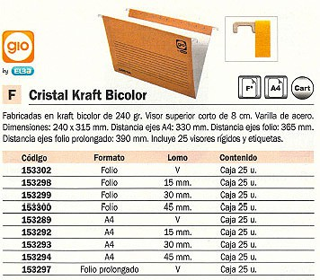 GIO CARPETA COLGANTE 270 X 350 MM CRISTAL KRAFT BICOLOR VISOR SUPERIOR 80 MM 400021946