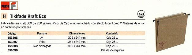 FADE CARPETA COLGANTE CAJA 25 UD A4 CARTÓN KRAFT VISOR SUPERIOR 400064818