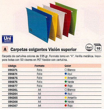 Comprar Carpetas colgantes visor superior 096371 de Unisystem online.
