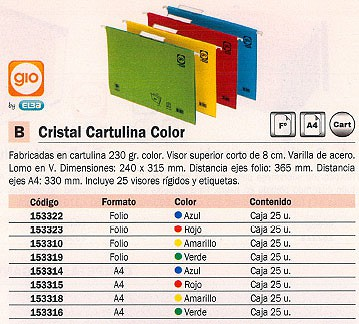 GIO CARPETA COLGANTE 240 X 315 MM VERDE CRISTAL VISOR SUPERIOR DE 8 CM CARTULINA 400021957