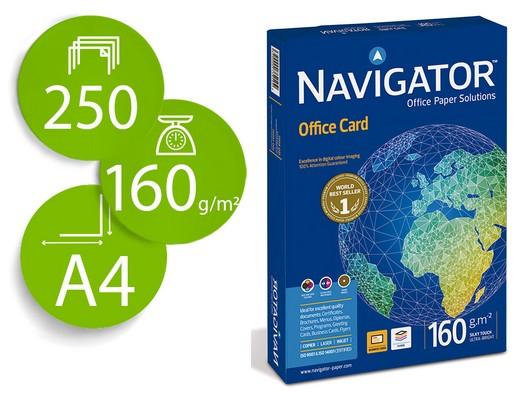 ENVASE DE 5 UNIDADES NAVIGATOR OFFICE CARD. PAPEL IMPRESIÓN LASER COLOR 250H 160 G. A4 0010CE