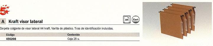 5 ESTRELLAS CARPETA COLGANTE VISOR LATERAL 25 UD A4 TIRAS DE IDENTIFICACION KRAFT VARILLA PLASTICO 400021837