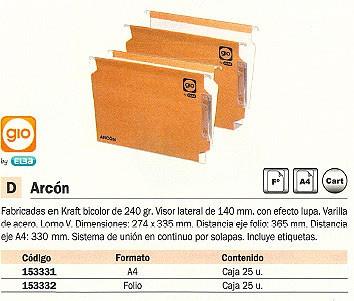 GIO CARPETA COLGANTE ARCON 25UD 274 X 335 MM KRAFT BICOLOR VISOR LATERAL DE 140 MM CON LUPA 400021926