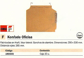 YBARRA CARPETA COLGANTE OFICISA 250X330 MM KRAFT VISOR LATERAL 400021907