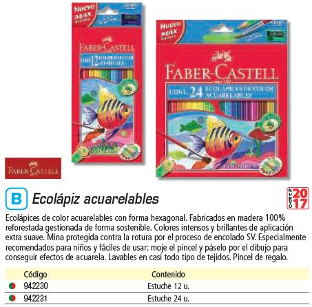 FABER CASTELL ESTUCHE 12 LÁPICES ESCOLARES ACUARELABLES 120224