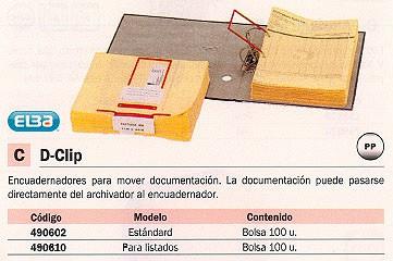 ELBA ENCUADERNADORES D-CLIP PAQUETE 100 UD ESTÁNDAR 100580277