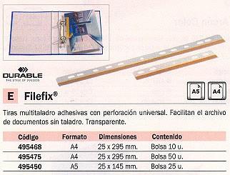 DURABLE TIRAS MULTITALADRO FILEFIX BOLSA 50 UD A4 TRANSPARENTE 495475