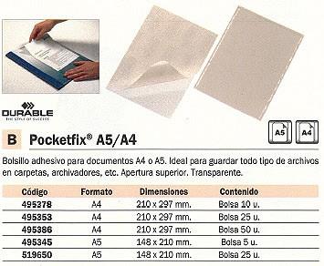 DURABLE BOLSILLO ADHESIVO POCKETFIX PAQUETE 5 UD 148X210 APERTURA SUPERIOR TRANSPARENTE 495345