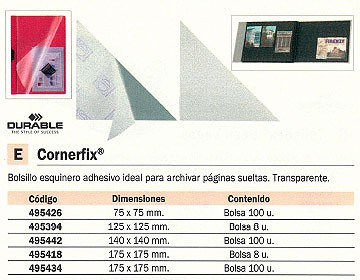 DURABLE CANTONERA CORNEFIX PAQUETE 100 UD 140 MM ADHESIVO TRANSPARENTE 495442