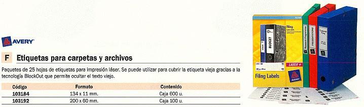 AVERY ETIQUETAS CARPETAS CAJA 100 UD L7171-25
