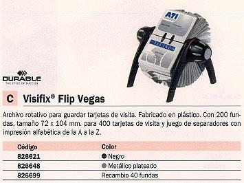 DURABLE ARCHIVO ROTATIVO FLIP VEGAS PLÁSTICO 200 FUNDAS 72 X 104 MM 826648