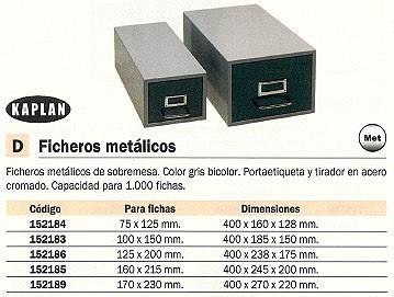 KAPLAN FICHERO METÁLICO SOBREMESA 125X200 MM GRIS BICOLOR HASTA 1000 FICHAS FH3
