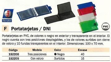 ENVASE DE 16 UNIDADES IBERPLAS PORTATARJETAS 100X70 CON VELCRO PVC COLORES SURTIDOS 1069FL99