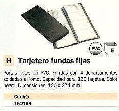 ENVASE DE 5 UNIDADES UNIOFFICE TARJETERO 120X274 PARA 160 TARJETAS PVC NEGRO 95809