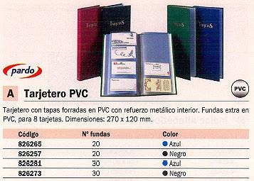 PARDO TARJETERO CON 30 FUNDAS FORRADO PVC NEGRO 912201