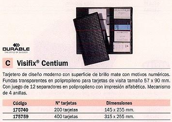 DURABLE TARJETERO VISIFIX CENTIUM 315X255 PARA 400 TARJETAS 12 SEPARADORES 175759