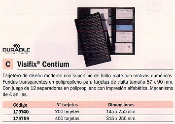 DURABLE TARJETERO VISIFIX CENTIUM 145X255 PARA 200 TARJETAS 175740