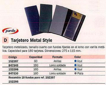 PARDO TARJETERO METAL STYLE 275X115 PARA 120 TARJETAS CON ANILLAS PLATA 812803