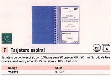 EXACOMPTA TARJETERO 185X120 PARA 96 TARJETAS COLORES SURTIDOS 75077E