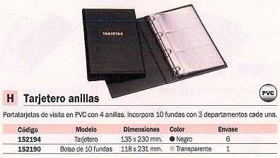 ENVASE DE 6 UNIDADES UNIOFFICE TARJETERO 135X230 10 FUNDAS CON ANILLAS NEGRO 95819