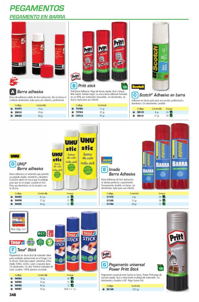 Adhesivos ENVASE DE 12 UNIDADESTSA BARRA ADHESIVA ECO STICK 40 GRAMOS 57028-00200-00