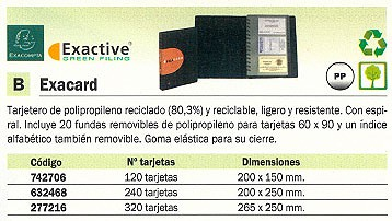 EXACOMPTA TARJETERO EXACARD 200X150 PARA 120 TARJETAS GOMA ELASTICA CIERRE 75034E