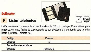 ESSELTE LISTIN TELEFONICO A5 MECANISMO ANILLAS 12 SEPARADORES ABECEDARIO 17009