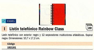 ENVASE DE 20 UNIDADES VIQUEL LISTIN TELEFONICO RAINBOW CLASS 102X172 12 SEPARADORES ALFABÉTICOS 80708706