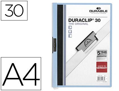 Dossiers DURABLE CARPETA DURACLIP DOSSIER PINZA LATERAL AZUL CAPACIDAD 30 HOJAS