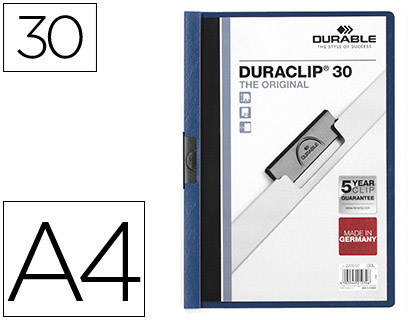 Dossiers DURABLE CARPETA DURACLIP DOSSIER PINZA LATERAL AZUL OSCURO CAPACIDAD 30 HOJAS