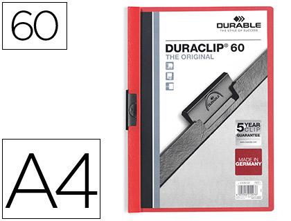 Dossiers DURABLE CARPETA DURACLIP DOSSIER PINZA LATERAL ROJO CAPACIDAD 60 HOJAS