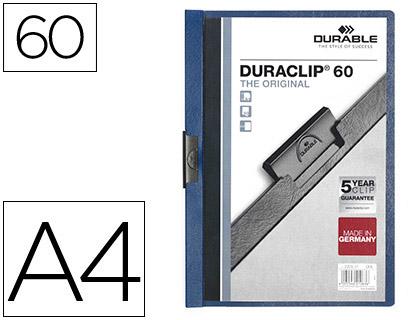 Dossiers DURABLE CARPETA DURACLIP DOSSIER PINZA LATERAL AZUL OSCURO CAPACIDAD 60 HOJAS