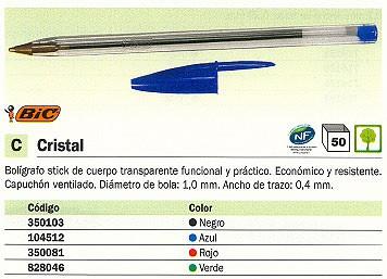 ENVASE DE 50 UNIDADES BIC BOLÍGRAFO CRISTAL AZUL TRAZO 0.4 MM 8373601