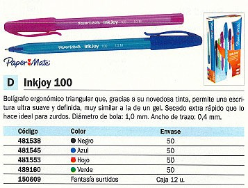 PAPER MATE BOLÍGRAFO INKJOY 100 VERDE TRAZO 0.4 MM S0957150