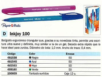 PAPER MATE BOLÍGRAFO INKJOY 100 SURTIDO FANTASÍA TRAZO 0.4 MM CAJA 12 UD S0975420