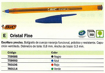 BIC BOLÍGRAFO CRISTAL FINE AZUL TRAZO 0.3 MM 872730