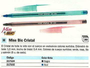 ENVASE DE 20 UNIDADES BIC BOLIGRAFO MISS BIC CRISTAL NEGRO TRAZO 0.4 MM 892312