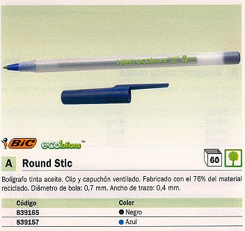 BIC BOLÍGRAFO ROUND STIC AZUL TRAZO 0.4 MM TINTA ACEITE 893240