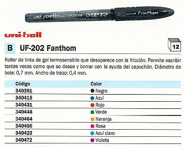 ENVASE DE 12 UNIDADES UNI BALL ROLLER UF 202 FANTHOM ROJO TRAZO 0,4 MM TINTA GEL UF2020400