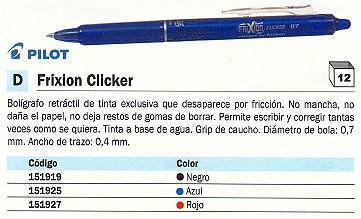 PILOT BOLÍGRAFO TINTA BORRABLE FRIXION CLICKER AZUL TRAZO 0,4 MM BLRT FR7 L