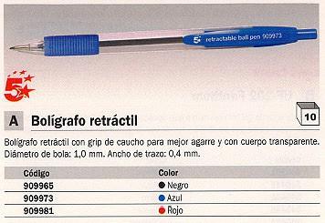 ENVASE DE 10 UNIDADES 5 STAR BOLÍGRAFO RETRACTIL ROJO TRAZO 0,4 MM GRIP DE CAUCHO 0054702